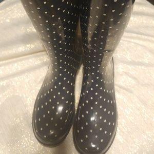 Chooka Micro Classic Dot Rain Boots Blue Size 6